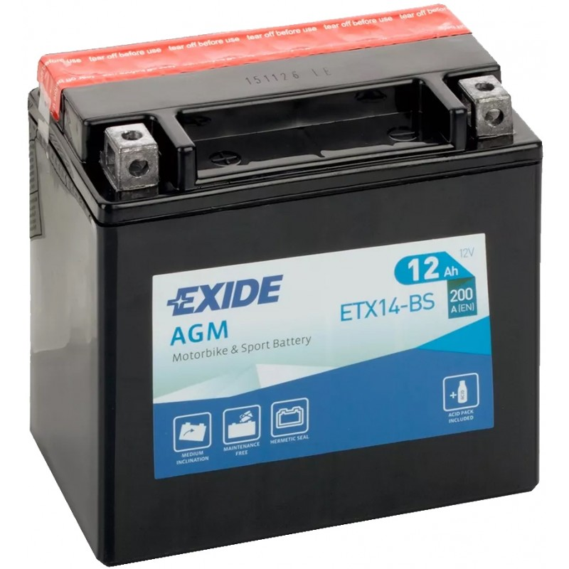 EXIDE BIKE AGM YTX14-BS 12AH 200A 12V L+