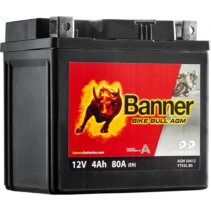BANNER BIKE BULL AGM YTX5L-BS 4AH 80A R+